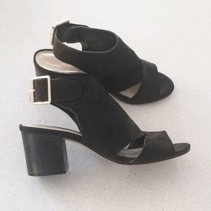 Block Heel Black Sandals